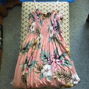 Dresses & Skirts - Floral Peach Sundress/Cover Up